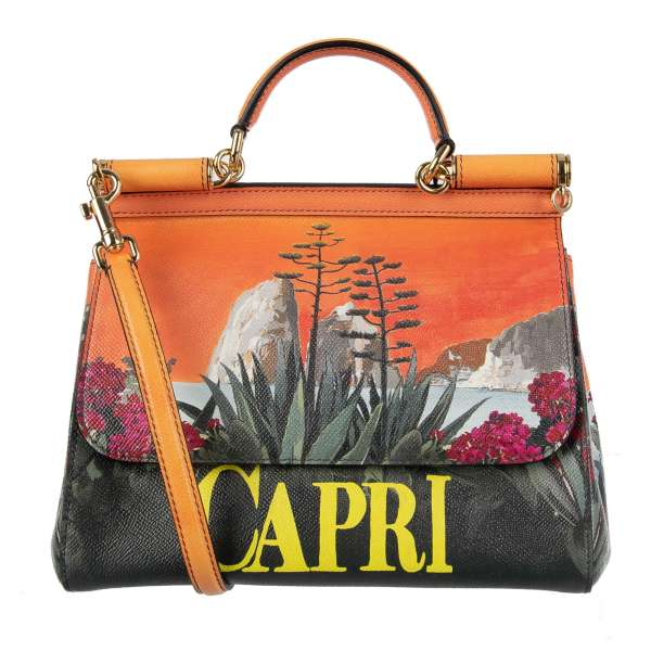 Dauphine Leather Tote / Shoulder Bag MISS SICILY with CAPRI Print and metal logo plate by DOLCE & GABBANA