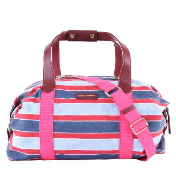 Striped Boston Travel Bag / Sport Bag with logo made of canvas by DOLCE & GABBANA Black Label