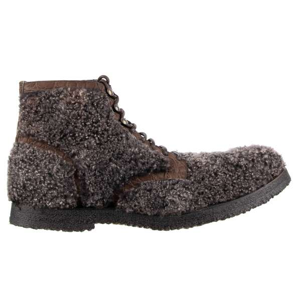 Ankle Boots SIRACUSA made of sheep fur and crocodile leather details with lace up closure by DOLCE & GABBANA