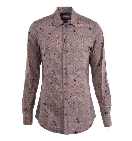 Hemd mit kurzem Kragen, Manschetten und Tarock-Print von DOLCE & GABBANA Black Label - GOLD Line