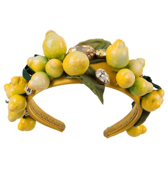 Headband with crystals, lemons, silk and velvet leaves in yellow and green by DOLCE & GABBANA