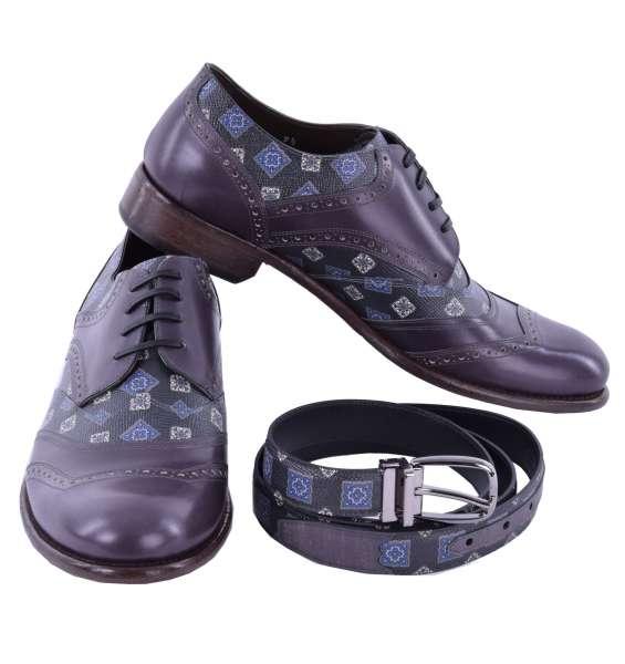 Geschenkset mit Patchwork Derby-Schuhe TAORMINA und Gürtel aus Dauphine Leder von DOLCE & GABBANA Black Label