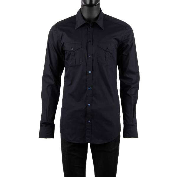 Silk and cotton blend shirt with long collar and pockets in dark blue by DOLCE & GABBANA - SICILIA Line