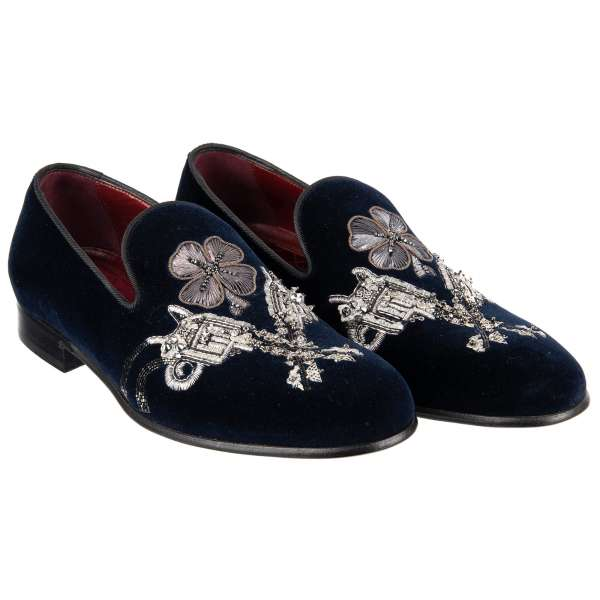 Velvet Loafer MILANO with pistols and flower embroidery made of gun metal and small studs by DOLCE & GABBANA