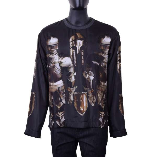 Lined armor and knight printed silk longsleeve by DOLCE & GABBANA Black Label
