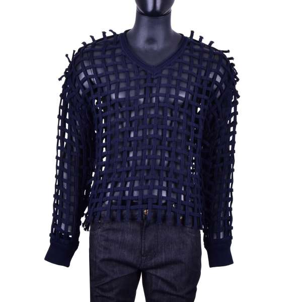 Knitted Braid Net Structure Cotton Sweater in blue by DOLCE & GABBANA Black Label