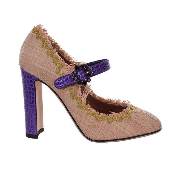 Mary Jane Pumps VALLY made of straw and crocodile textured leather with a crystals buckle by DOLCE & GABBANA Black Label