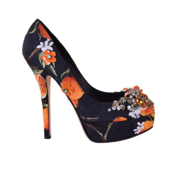 Brocade Plateau Pumps COCO with Orange print and crystals applications by DOLCE & GABBANA Black Label