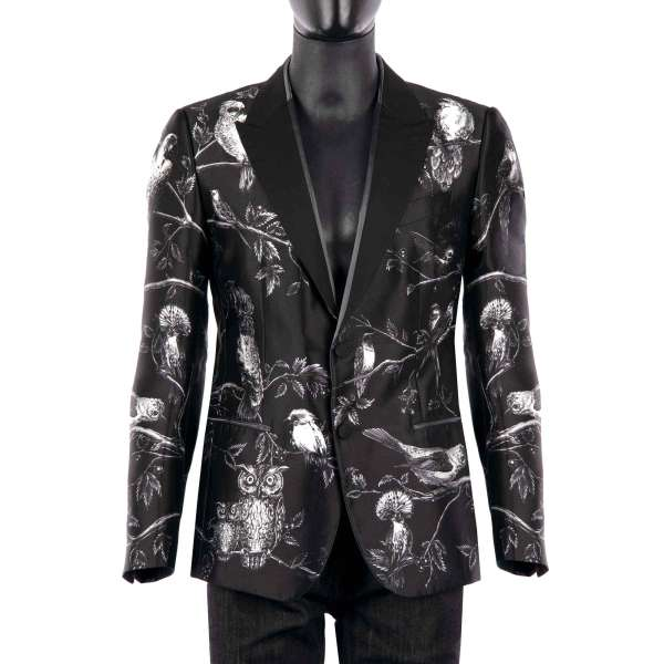 Silk blazer with Birds and Trees Print in white by DOLCE & GABBANA Black Line