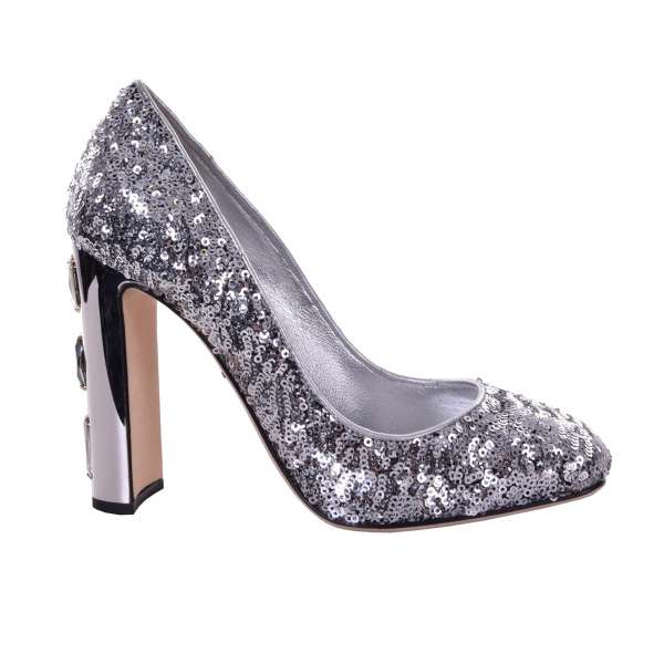 Sequined Pumps JACKIE with crystals embellished heel by DOLCE & GABBANA Black Label