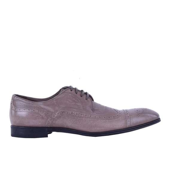 Formal kangaroo leather derby shoes PORTOFINO by DOLCE & GABBANA Black Label