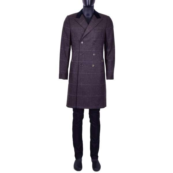 Checked double-breasted Wool Coat with a velvet reverse by DOLCE & GABBANA Black Line