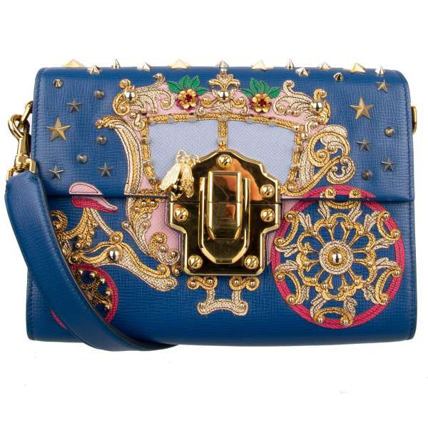 Tote / Shoulder bag LUCIA with leather embroidered coach application, Stars, Studs and Brooches and two shoulder straps and by DOLCE & GABBANA