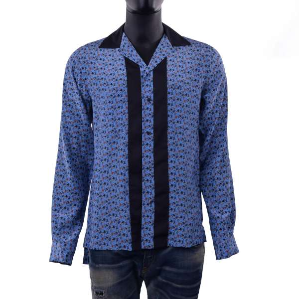 Football printed silk shirt with open collar by DOLCE & GABBANA Black Label - Riviera Line