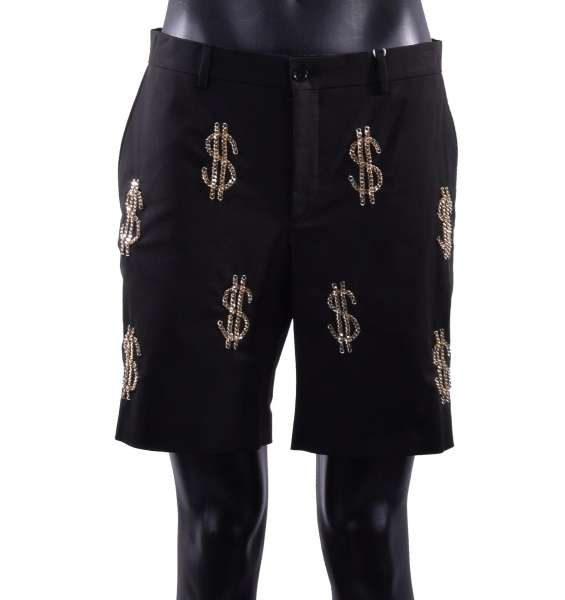 Cotton Shorts embellished with metallic gold chain dollar signs by MOSCHINO COUTURE