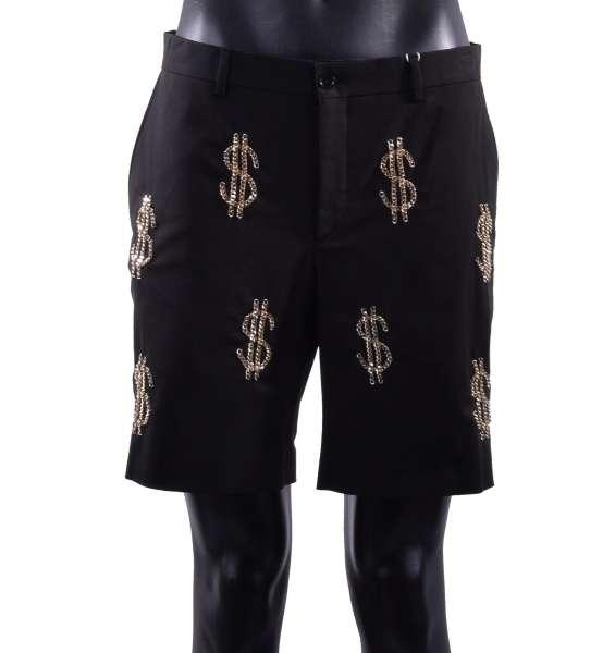 Shorts mit Dollarzeichen-Verzierung aus Metallischen Goldkette von MOSCHINO COUTURE