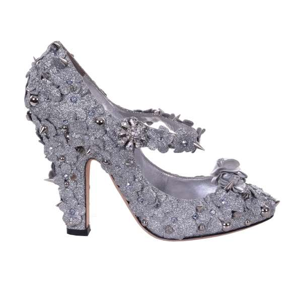Glitter Mary Jane Pumps COCO embellished with rhinestones, studs and leather roses by DOLCE & GABBANA Black Label