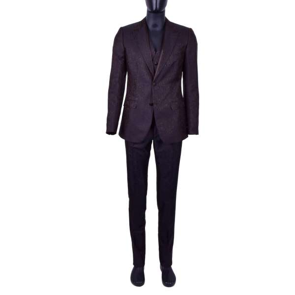 3-Teiliger Anzug aus Seidenmischung mit geometrischer Textur von DOLCE & GABBANA Black Label