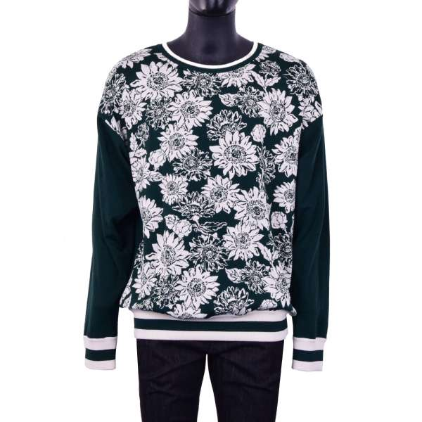 Virgin Wool Sweater / Sweatshirt with printed flowers in green and white by DOLCE & GABBANA Black Line