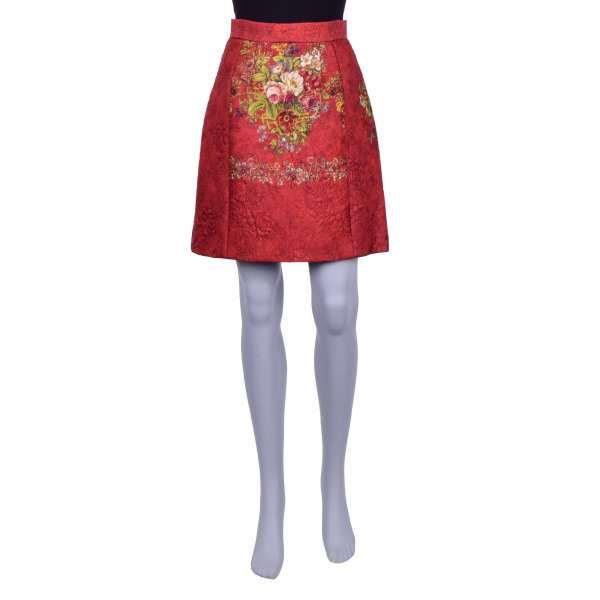 Silk Jacquard skirt with flowers and golden keys print by DOLCE & GABBANA Black Label