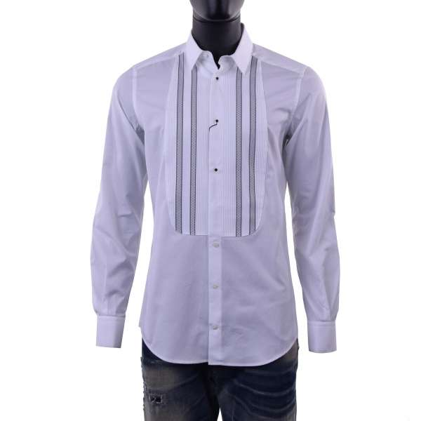 Smoking shirt with short collar and metal buttons by DOLCE & GABBANA Black Label - GOLD Line