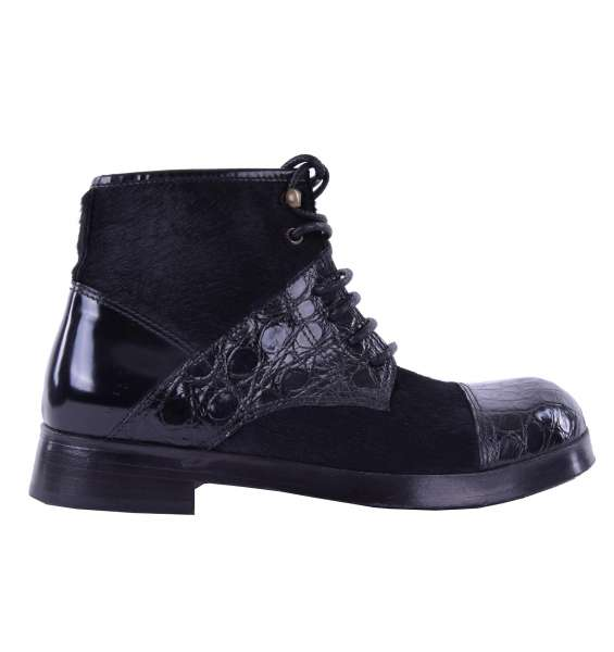 Ankle Boots SIRACUSA made of crocodile leather and calf fur by DOLCE & GABBANA Black Label