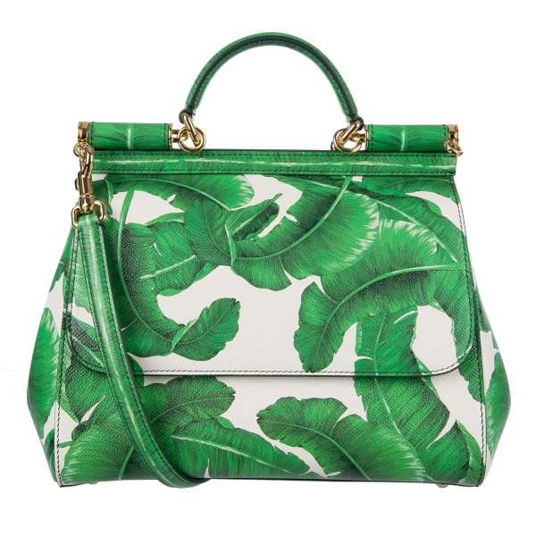 Printed Dauphine Leather Tote / Shoulder Bag MISS SICILY with Banana Leafs / Palms Print and metal logo plate by DOLCE & GABBANA