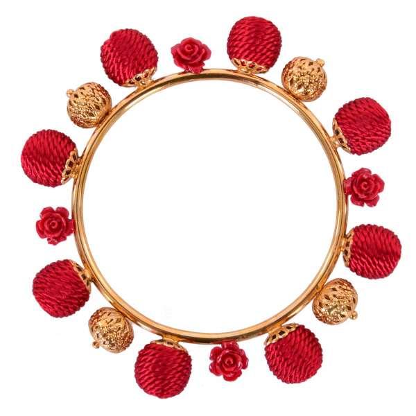"""Filigraner Armband """"Sicilia Natale"""" verziert mit Kugeln und Rosen in rot und gold von DOLCE & GABBANA"""