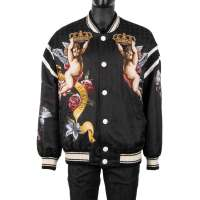 Baroque Printed Wide Cut Bomber Jacket with Angels and Flowers Print Black