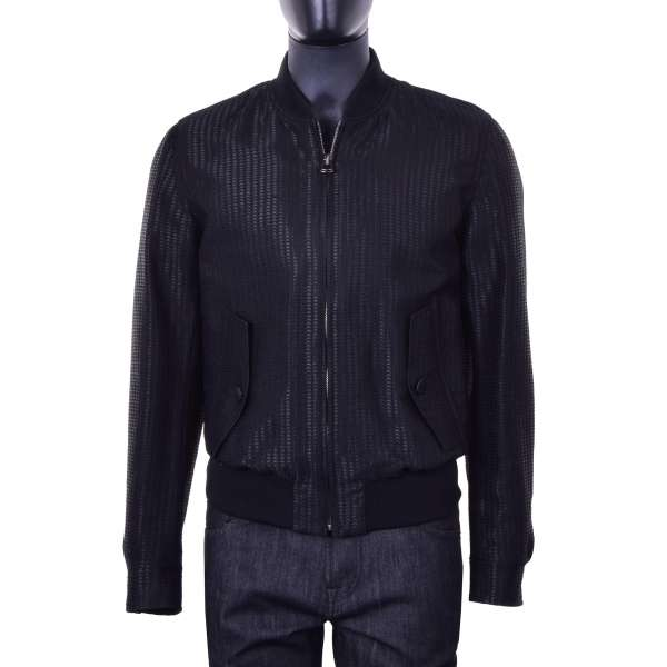 Padded bomber jacket in black with woven structure made of virgin wool by DOLCE & GABBANA Black Line