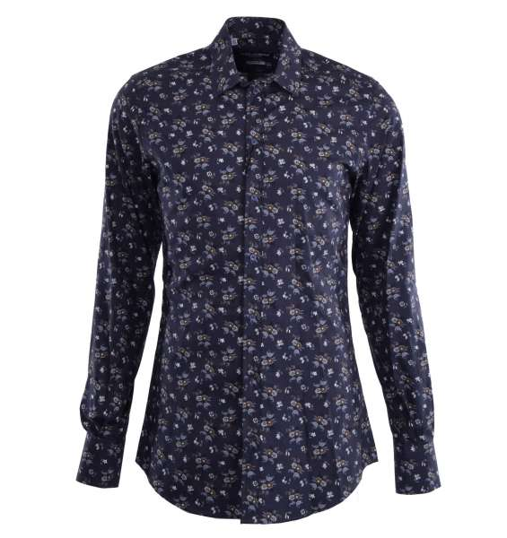 Floral printed shirt with short collar and cuffs by DOLCE & GABBANA Black Label - GOLD Line