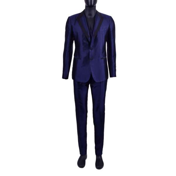 Shiny 3-pieces silk suit with black contrast reverse by DOLCE & GABBANA Black Line