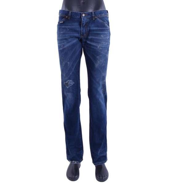 Gerade geschnittene Distressed Jeans 14 GREEN mit bemalten Flecken, Gurt und Logo Schild von DOLCE & GABBANA Black Label