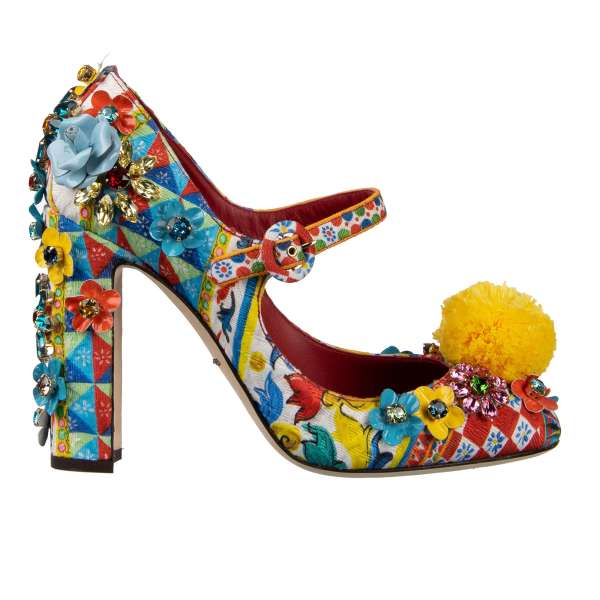 Brocade and leather Mary Jane Pumps VALLY with Carretto print, crystal und leather flowers, raffia pom pom decoration in white, blue, yellow and red by DOLCE & GABBANA Black Label