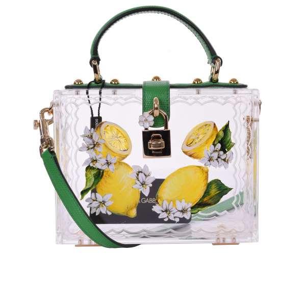 Lemon hand painted plexiglas bag / shoulder bag DOLCE BOX with decorative padlock by DOLCE & GABBANA Black Label
