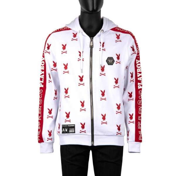 Hoody jacket with all-over logo embroidery, embroidered PLAYBOY lettering at the back and Playboy Plein logo lettering on the sleeves by PHILIPP PLEIN x PLAYBOY
