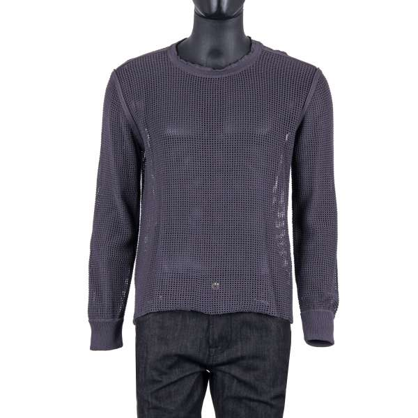 Knitted Net Structure Cotton Sweater in gray by DOLCE & GABBANA Black Label
