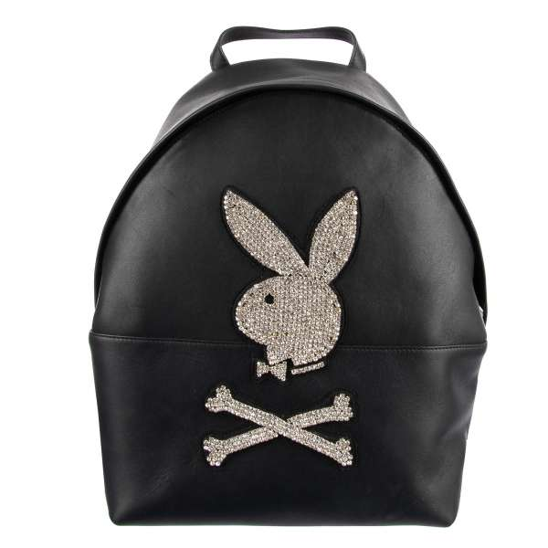 Leather Backpack with a large crystals Plein Playboy Logo by PHILIPP PLEIN x PLAYBOY