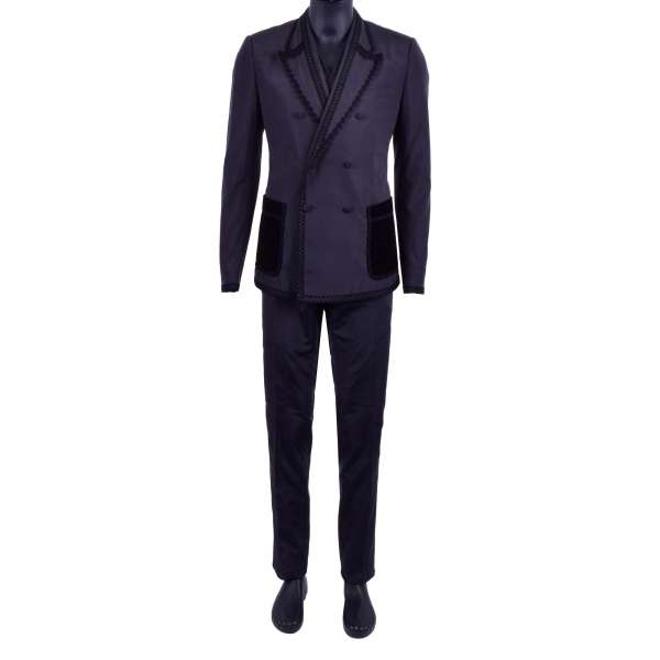Double-Breasted silk 3-pieces suit with Spanish style passementerie / trimmings embroidery by DOLCE & GABBANA Black Line