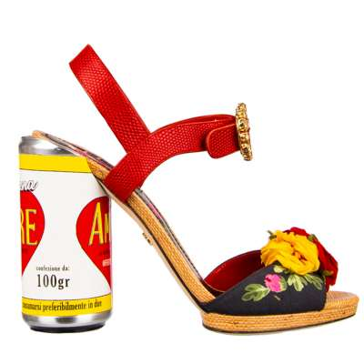 Floral High Heel Sandals KEIRA with Amore Can Heel Red Black