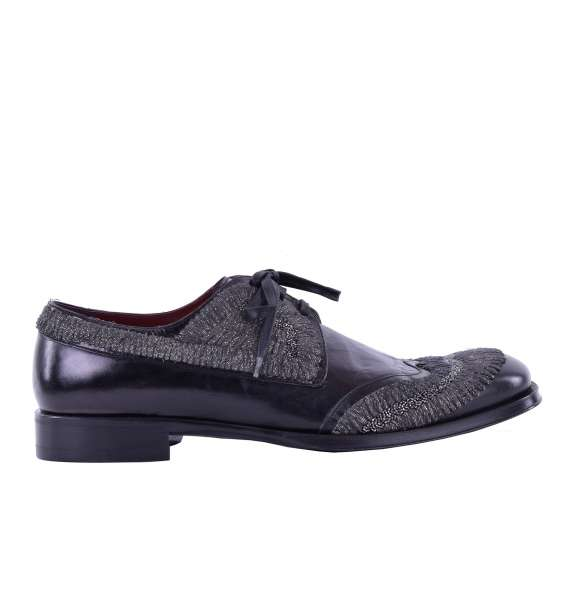 Embroidered leather derby shoes SASSARI by DOLCE & GABBANA Black Label