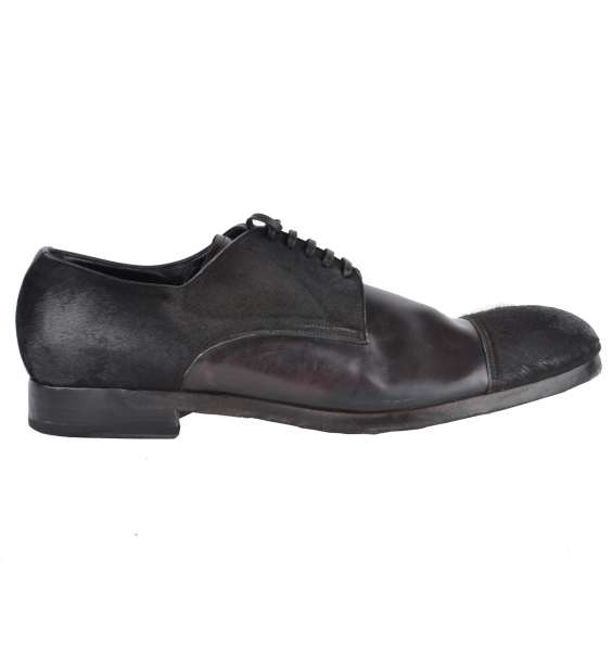 Fur and horse leather derby shoes with a round toe by DOLCE & GABBANA Black Label
