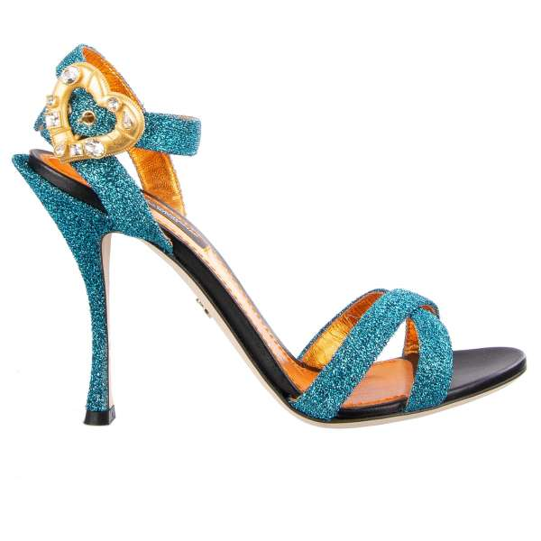 Shiny textured strappy sandals heels with a crystals embellished heart buckle by DOLCE & GABBANA