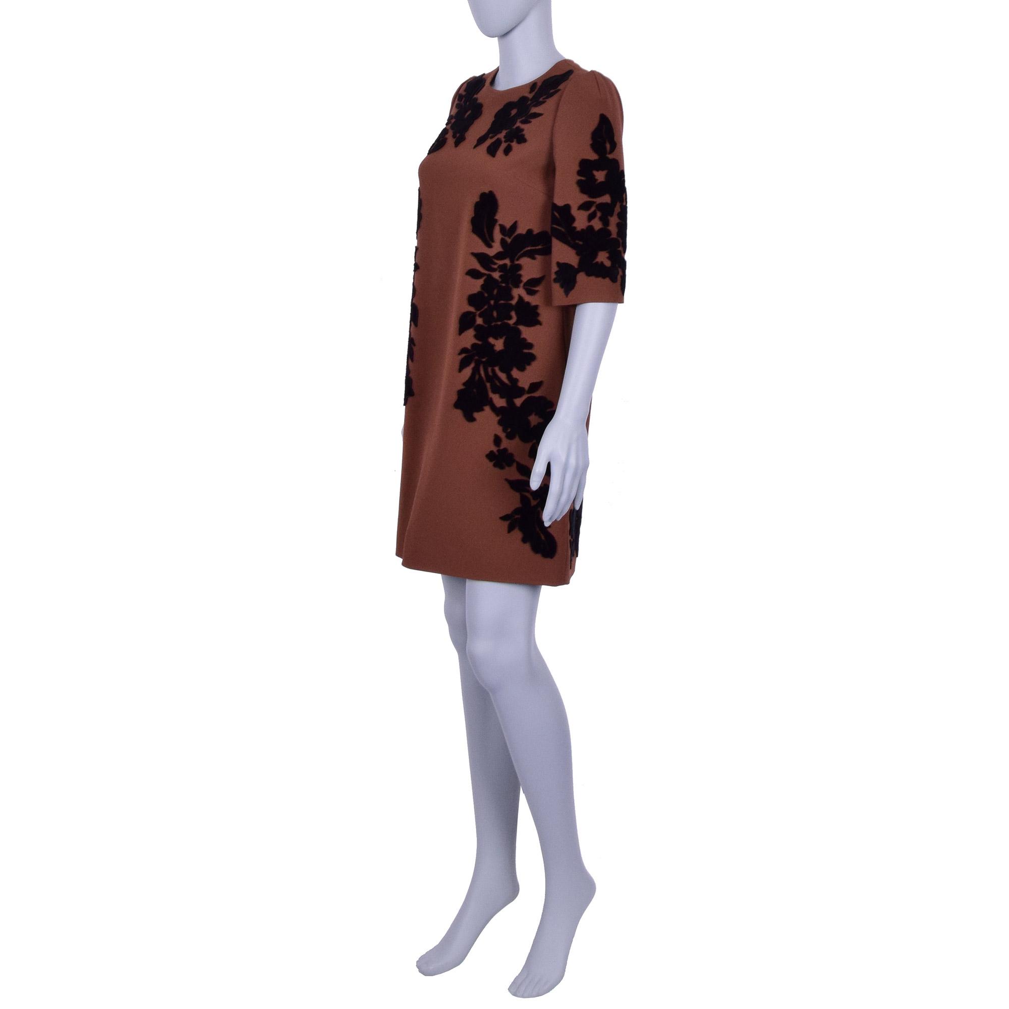Dolce Gabbana Barock Blumen Stickerei Kleid Braun Fashion Rooms