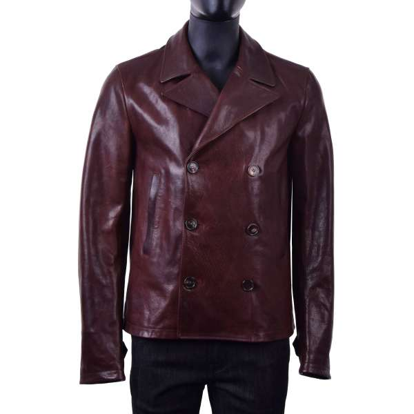 Double-breasted calf leather jacket with a wide collar by DOLCE & GABBANA Black Line