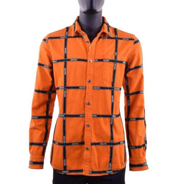 Jeanshemd mit schwarzen Streifen mit Logo-Aufdruck von MOSCHINO COUTURE