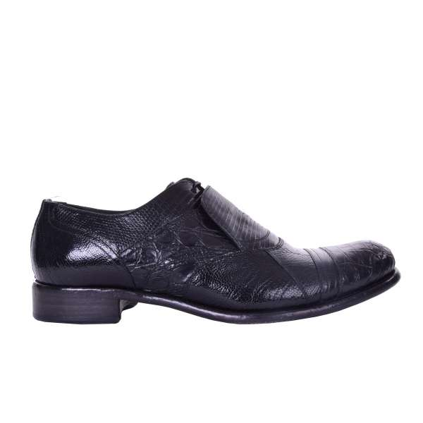 Patchwork leather oxford shoes TAORMINA made of lizard, ostrich and crocodile leather with hidden lace fastening by DOLCE & GABBANA Black Label