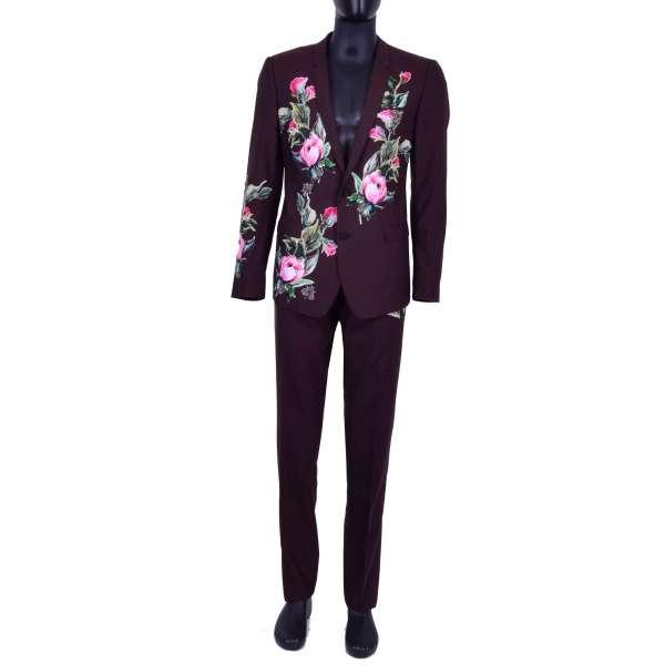 Anzug aus Schurwolle mit Blumen-Applikationen und Bienen Broschen aus Kristallen von DOLCE & GABBANA Black Label