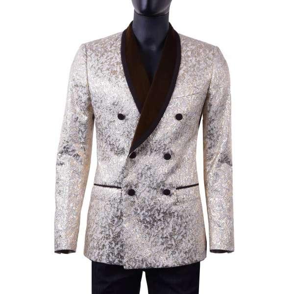 Zweireihiger Jacquard Smoking Blazer im Barock-Stil mit rundem Samt-Kragen im Gold und Silber von DOLCE & GABBANA Black Label