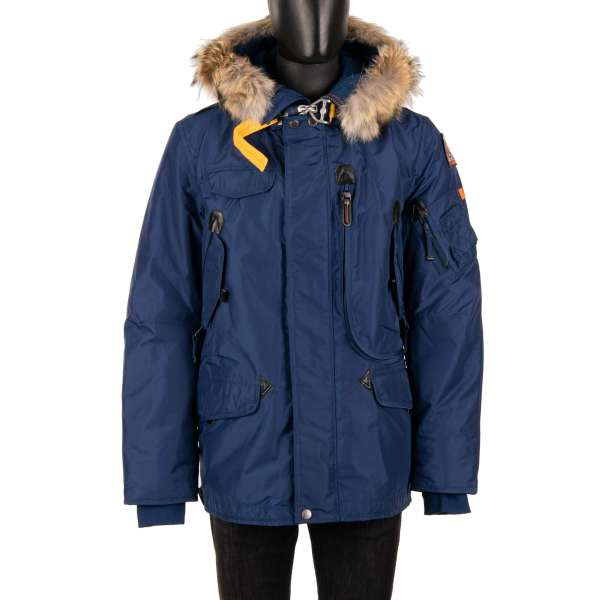 Parka / Down Jacket RIGHT HAND with a detachable real fur trim, hoody, many pockets and a removable down-filled lining in Blue